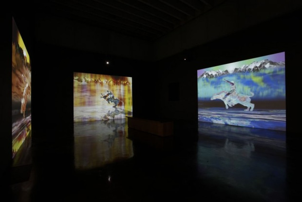 Gordon Cheung, The Four Riders, 2009, 4 screen worrk, SD video with sound, Courtesy of the artist and Edel Assanti, London (photo- Jonathan Shaw)